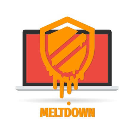 Attack of meltdown. Vector illustration cyber security concept.