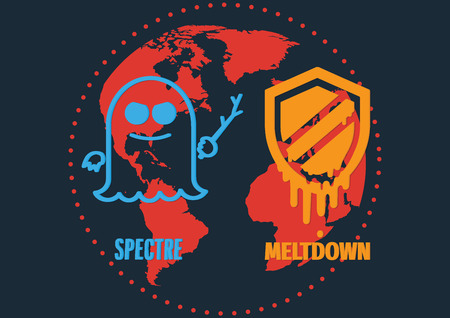 Attack of meltdown and specter exploit critical vulnerabilities in modern processors work on personal computers, mobile devices and cloud on world map. Vector illustration cyber security concept.