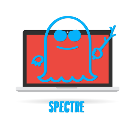 Attack of meltdown and specter exploit critical vulnerabilities in modern processors work on personal computers, mobile devices and cloud. Vector illustration cyber security concept. Illustration