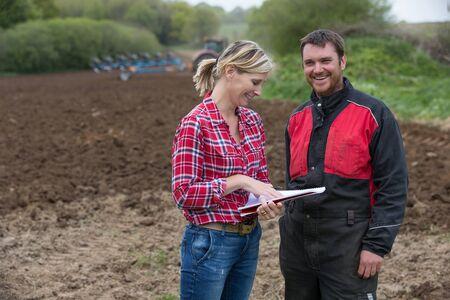 pesticide: farmer dealing with pesticide saleswoman