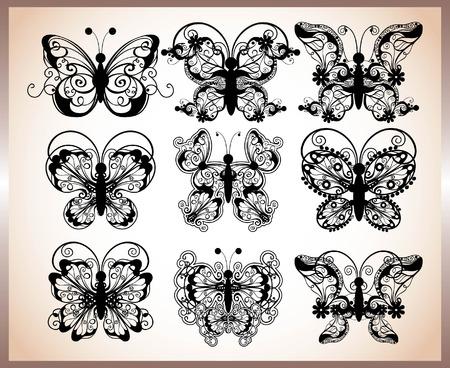 filigree swirl: set of butterfly design Illustration