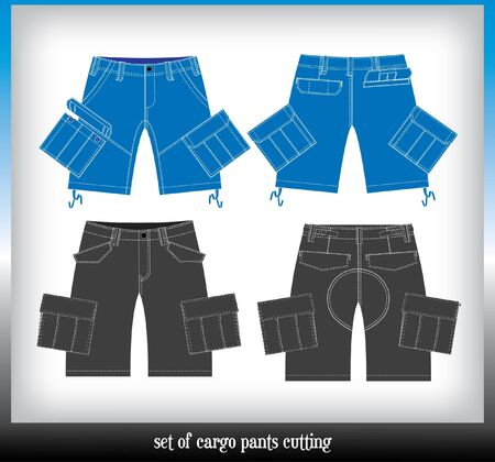 habiliment: set of boy cargo pants cutting