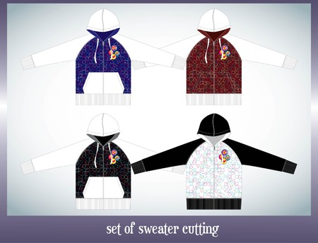 habiliment: set of sweater design