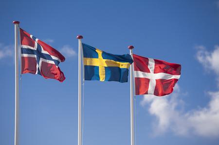 flagpoles: Scandinavian flags of Norway, Sweden, Denmark