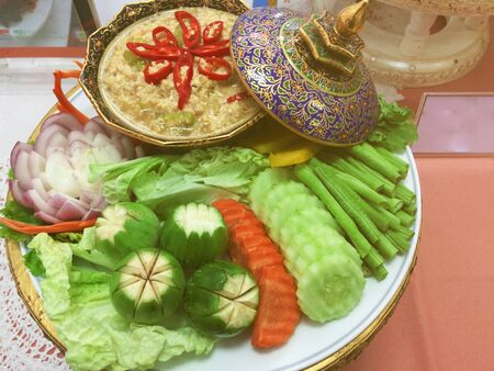 Fried mackerel with shrimp paste sauce  food hit all sectors, especially the central region. Served with fresh vegetables, boiled vegetables
