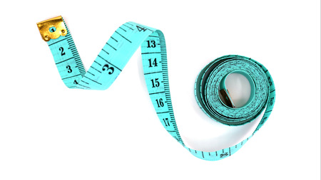 Top view Green tape measure isolated on white background.