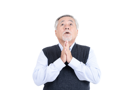 unhappy adult senior old man depression problem or pray with copy space for your promotional or text isolated on white background.
