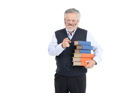 Portrait asian senior old man teacher or professor hold book wearing eyeglasses thinking with copy space for your promotional or text isolated on white background.