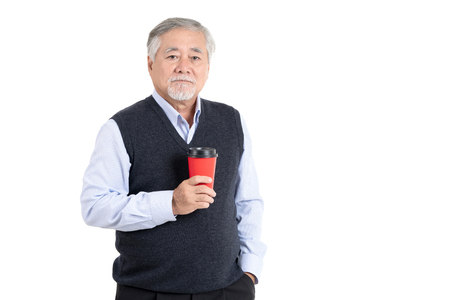 Portrait executive asian adult senior old man holding coffee cup with copy space for your promotional or text isolated on white background,People lifestyle concept. 스톡 콘텐츠