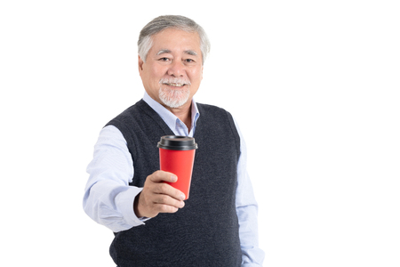 Portrait executive asian adult senior old man smile feeling happy holding coffee cup with copy space for your promotional or text isolated on white background,People lifestyle concept.