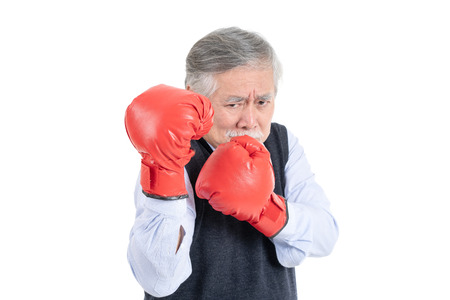fighter asian senior old man sport boxing red gloves copy space for your advertisement or promotional text on isolated white background. 스톡 콘텐츠