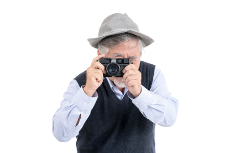 Happy asian elderly old man hobby photographer travel portrait copy space for your advertisement or promotional text on isolated white background, People lifestyle concept. Stockfoto