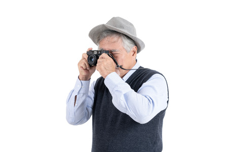 Happy asian elderly old man hobby photographer travel portrait copy space for your advertisement or promotional text on isolated white background, People lifestyle concept. 스톡 콘텐츠