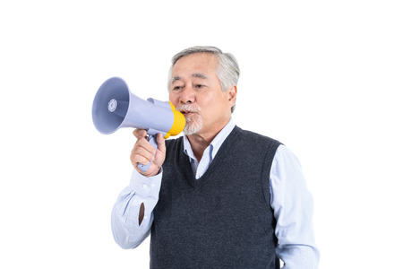Portrait elderly man hold megaphone , Senior male speaker with copy space for your advertisement or promotional text on white background.