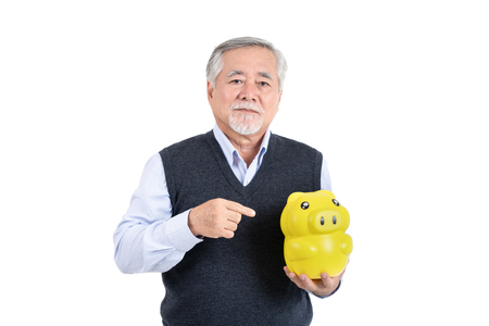 finance elderly man hold piggy savings  money wealth with copy space for your advertisement or promotional text on white background.