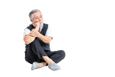 unhappy adult senior old man depression problem with copy space for your promotional or text isolated on white background.