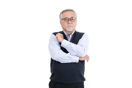 professional adult senior old man hipster wearing eyeglasses thinking with copy space for your promotional or text isolated on white background.