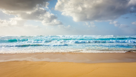 banzai pipeline: A wide view of large, powerful blue waves rolling in to Sunset Beach on a warm summer day on the North Shore of Oahu, Hawaii.