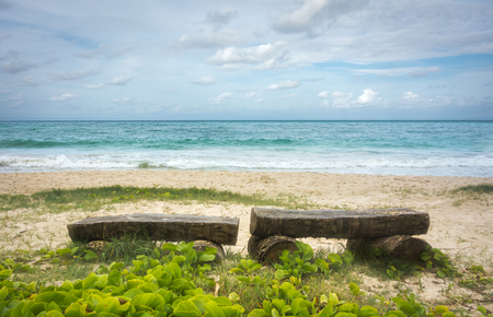 Two lonely benches on a beach in Hawaii, with a beautiful view of emerald green waves rolling in. Banco de Imagens