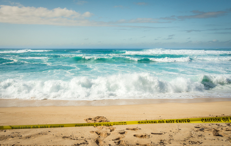 banzai pipeline: Large waves breaking on the shore at Sunset Beach on the North Shore of Oahu, Hawaii.