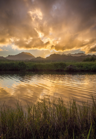 A beautiful golden sunset reflecting in the calm water of the Kawainui Marsh on the island of Oahu, Hawaii.