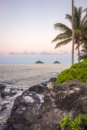 Pink and purple clouds of dusk compliment a soft moonrise over the Mokulua islands of Lanikai on Oahu, Hawaii. Stok Fotoğraf