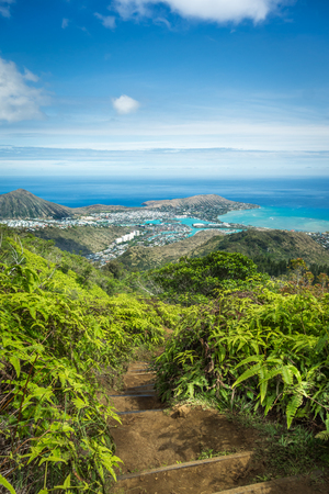 An elevated view of lush green mountain vegetation, the deep blue ocean, and the neighborhood of Hawaii Kai, as seen from the top of Kuliouou Ridge Trail on the island of Oahu.