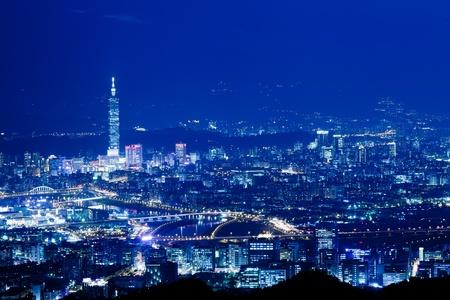 Night scenes of the Taipei city, Taiwan  photo
