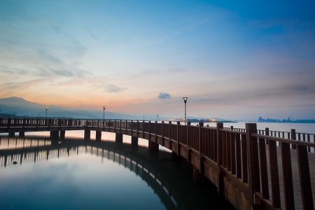 bridge over water: Tamsui Sunset, new Taipei, Taiwan