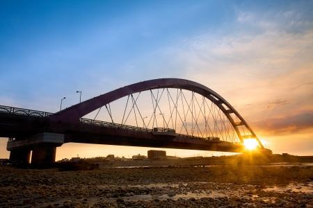 Color Red Bridge Sunset, Chuk Yuen, Taoyuan County, Taiwan  Stockfoto