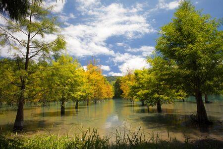 Beautiful lake with nice sky color  photo
