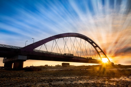 Color Red Bridge Sunset, Chuk Yuen, Taoyuan County, Taiwan  Stock Photo