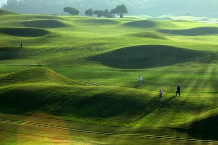 curso de capacitacion: Golf lugar con verde agradable Foto de archivo