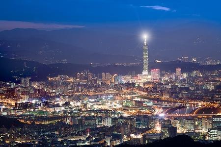 Night scenes of the Taipei city, Taiwan