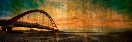 bridge over water: Color Red Bridge Sunset, Chuk Yuen, Taoyuan County, Taiwan  Stock Photo