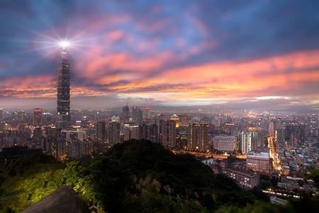 Sunset of Taipei city