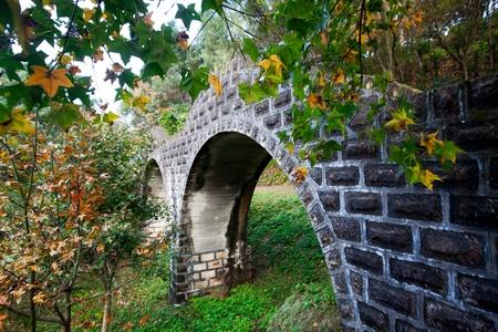 Stone make bridge with maple photo