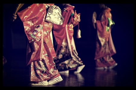 informal clothes: Japanese girl dancing in traditional clothing