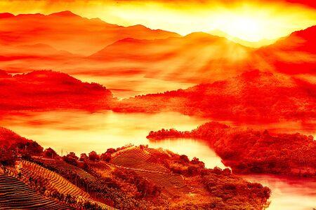 Sunset of Lake waist, the new Taipei, Taiwan Stock Photo - 12153801
