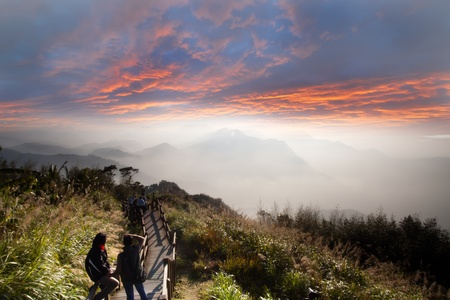 landscape in mountains and the dark blue sky with clouds  Stock Photo - 12153443