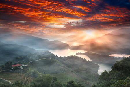 Sunset of Lake waist, the new Taipei, Taiwan  photo