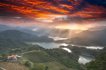 Sunset of Lake waist, the new Taipei, Taiwan  photo