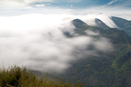 climate morning: mountain ,cloud and fog in the morning Stock Photo