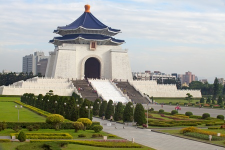 historical landmark: Taipei City - Feb 14: Chiang Kai-shek Memorial Hall is located in Zhongzheng District, Taipei, Taiwan, Chiang Kai-shek Memorial Hall is a building built to commemorate the President of the Republic of China, Chiang Kai-shek Editorial