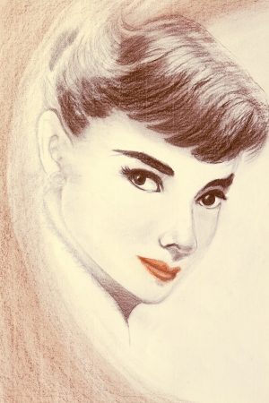 famous women: painting of Audrey Hepburn