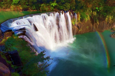 Painting style of Shifen waterfall is located at Pingxi township in Taipei, Taiwan