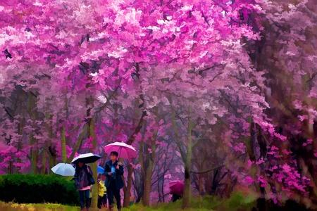 japanese painting: Painting style of landscape with nice sakura flower