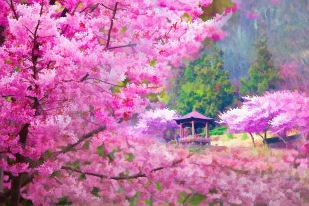 絵画素敵な桜の花と風景のスタイル