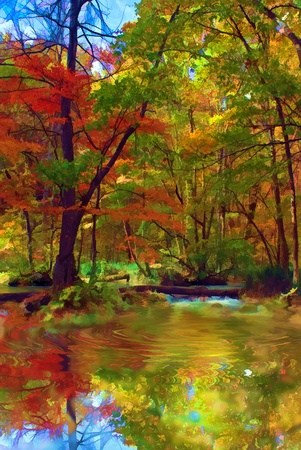 riverside landscape: Autumn Colors of Oirase River, located at Aomori Prefecture Japan