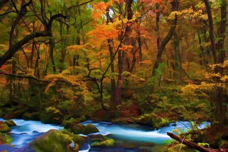 famous painting: Autumn Colors of Oirase River, located at Aomori Prefecture Japan